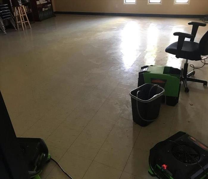Dry classroom after storm damage clean up