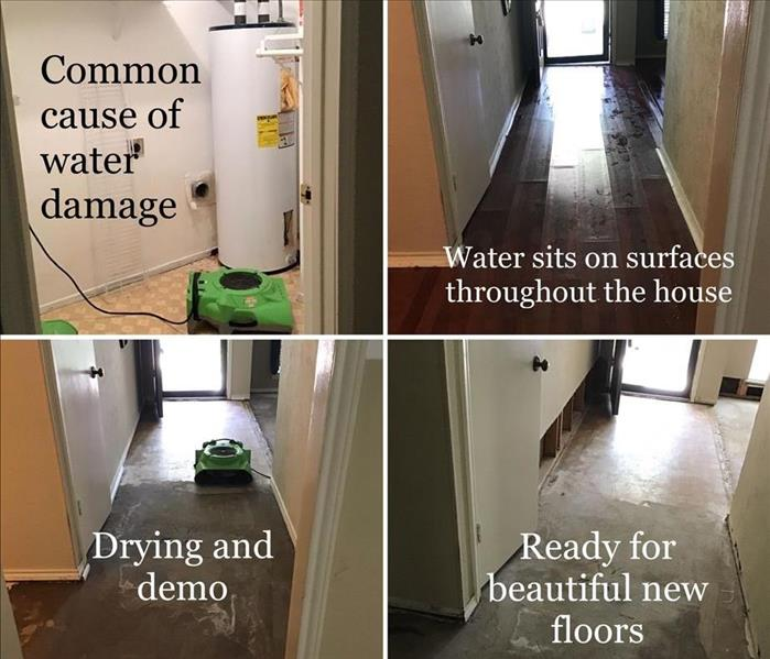 4 pictures showing water mitigation process